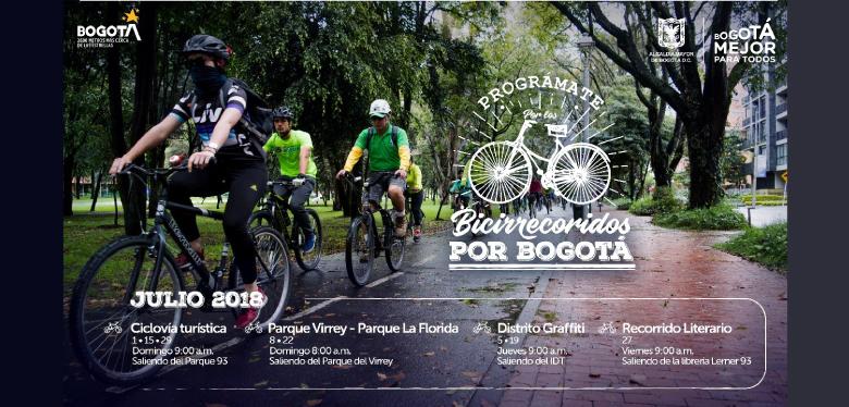 Banner bicirecorridos por Bogotá