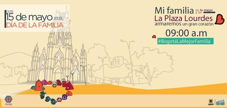 Invitación con imagen de la plaza de Lourdes, día de la familia