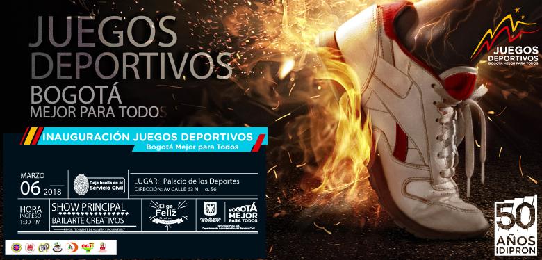 Invitación inauguración Juegos deportivos Bogotá marzo 6 2018